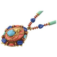 Rare Miriam Haskell Egyptian Revival Scarab Pendant on Matching Necklace