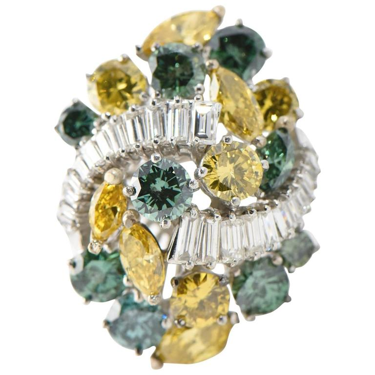 Elongated Yellow and Green Colored Diamonds Platinum Cluster Cocktail Ring