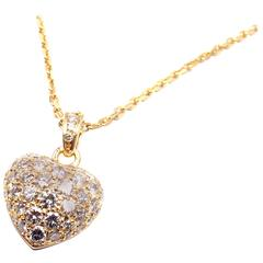 Cartier Diamond Heart Yellow Gold Pendant Necklace