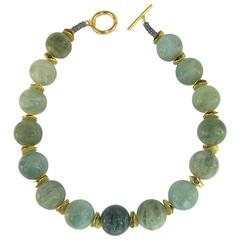 Large Spheres of Polished Opaque Aquamarine Choker