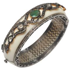 White Bakelite Bracelet with Emerald and Diamonds