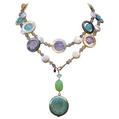 One-of-a-Kind Multi-Gemstone Long Lariat Watch Necklace
