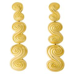 Tiffany & Co. Triple Scroll Gold Drop Earrings