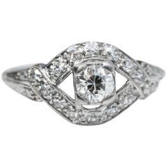 1920s Art Deco GIA .34 Carat Diamond Engagement Ring