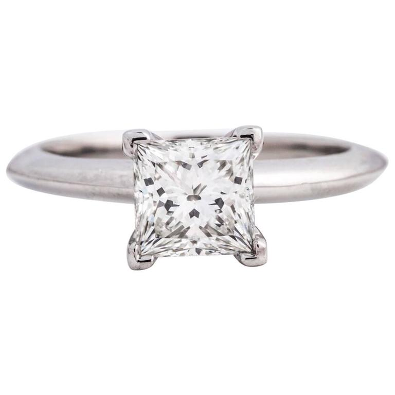 Tiffany and Co Platinum 106 Carat Princess Cut Solitaire Design