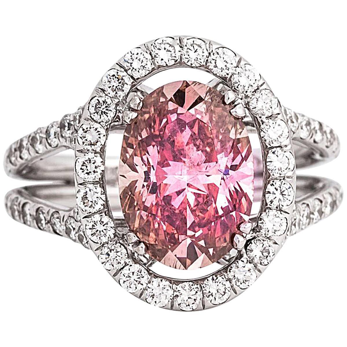 2.25 Carat Fancy Intense Pink Oval Enhanced Diamond White Gold Halo ...
