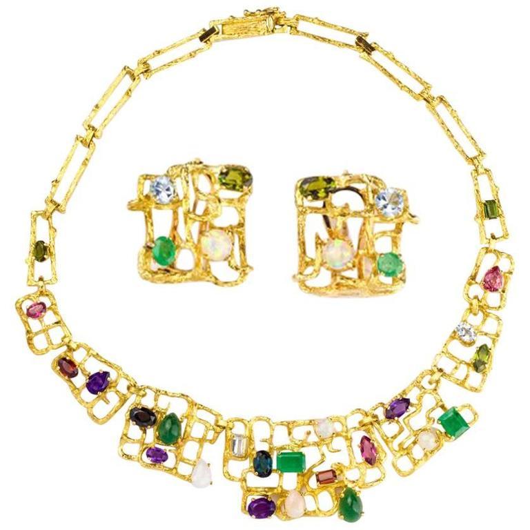1970s Multi Gem gold Necklace Earring Set