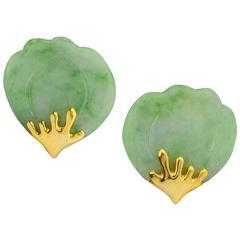 Tiffany & Co. Jade Gold Lotus Earclips