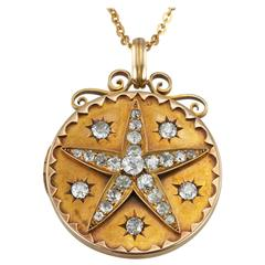 Victorian Diamond Star Gold Locket Necklace