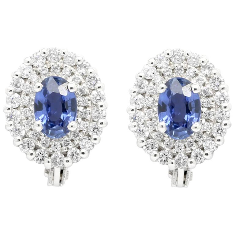 Ferrucci 1.1 carat Blue Sapphires and 0.46 carat Diamonds 18k white gold studs