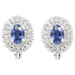 Ferrucci 1.1 carat Blue Sapphires and 0.46 carat Diamonds 18k white gold studs
