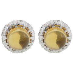 Topaz Diamond White Gold Earrings