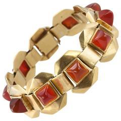 Ghiso Carnelian Gold Link Bracelet