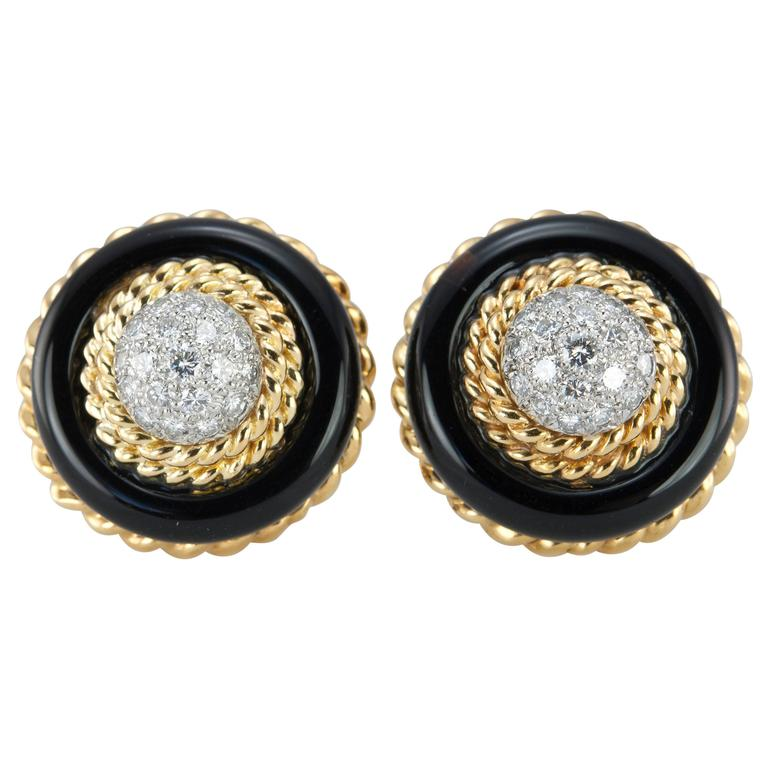 Van Cleef and Aprels Diamond, Onyx, Gold Clip-On Earrings For Sale