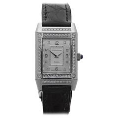 Jaeger-LeCoultre Ladies White Gold Diamonds Reverso Mechanical Wristwatch