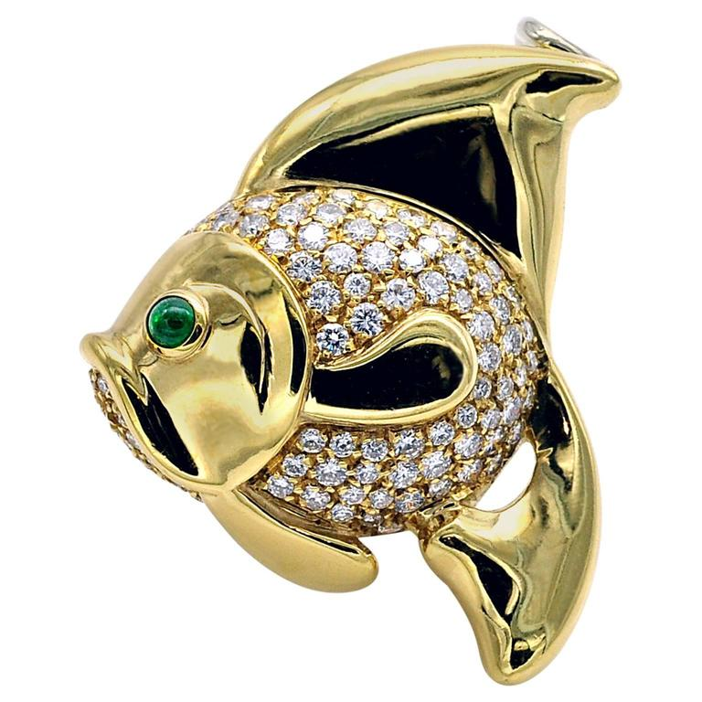 Emerald Diamond Gold Fish Brooch / Pendant Necklace