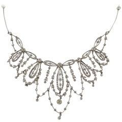 Edwardian Platinum and Diamond Floral Motif Necklace