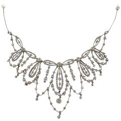 Edwardian Platinum and Diamond Floral Motif Necklace