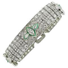Magnificent 1920s Art Deco Platinum Diamond and Emerald Bracelet