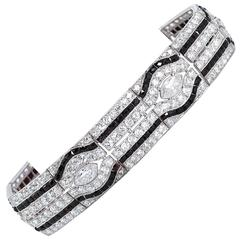 Art Deco Period Diamond Onyx Bracelet