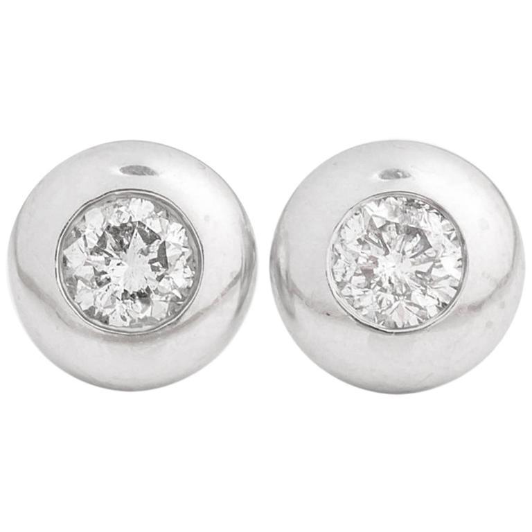 1980s Bubble Bezel Set 1.00 Carat Total Diamond Stud Earrings