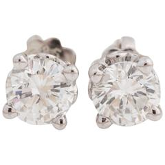 Round Diamond Earrings 0.80 Carat Total, Crafted in 14 Karat White Gold