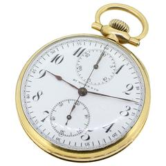 Antique 14k Yellow Gold HY Moser Single Button Chronograph Pocket Watch