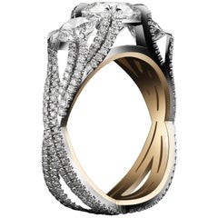 Alexandra Mor Three-Stone Brilliant-Cut Woven Diamond Ring 1.50 E SI1 GIA Center