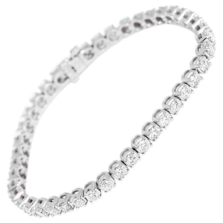 White Gold And 6 02 Ct Diamond Tennis Bracelet At 1stdibs