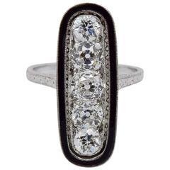 1920s Art Deco Diamond, Black Enamel and Platinum Dinner Ring