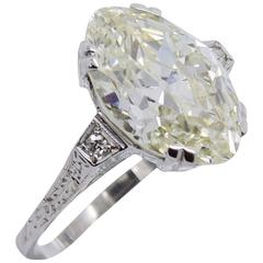 Antique 5.74 Carat Old Cut Marquise Diamond Engagement Ring