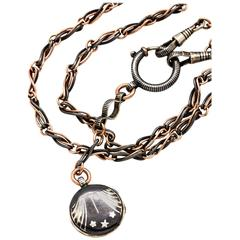 Striking Niello Sterling and Rose Gold Filled Locket and Chain, circa 1920s