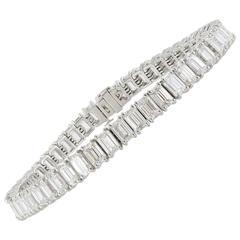 16.57 Carat  Emerald Cut Diamond Bracelet