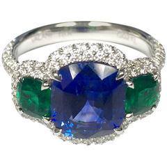 5.00 Carat Sapphire Emerald Diamond Ring