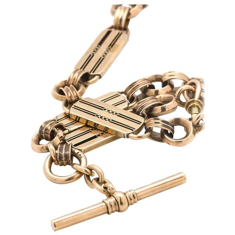 Pocketwatch Chain Necklace 9k Gold circa 1900-1910 1