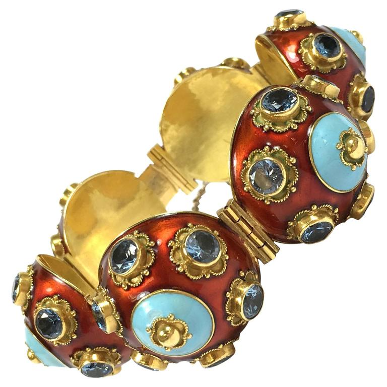 Unique Large Enamel 18K Gold Bubble Bracelet  1