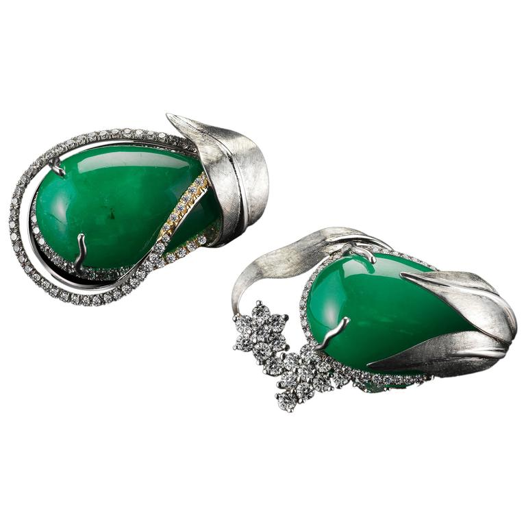 Alexandra Mor Emerald Diamond Flower Earrings