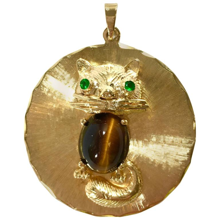 Emerald tiger eye yellow gold cat pendant for sale at 1stdibs emerald tiger eye yellow gold cat pendant for sale aloadofball Gallery