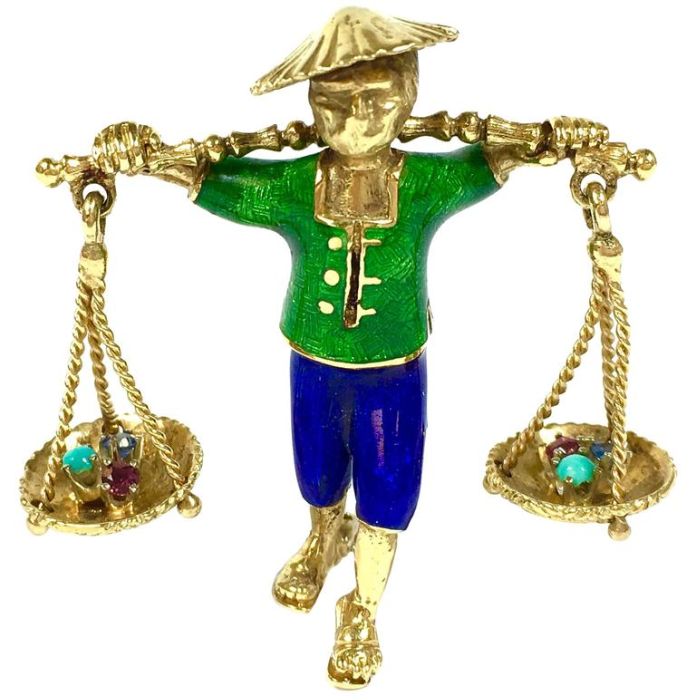 Oriental Carrier Man Enamel Gold Articulating Brooch