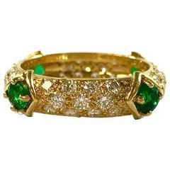 Mauboussin Diamond and Emerald Yellow Gold Eternity Band