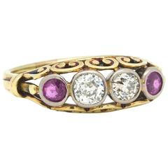 Antique Victorian Old European Cut Diamond Ruby Ring