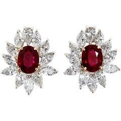 4.66 Carat Ruby Diamond Cluster Earrings