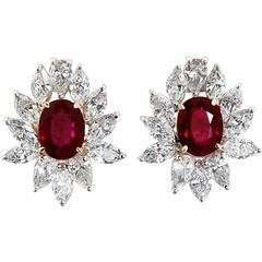 4.66 Carat Ruby Diamond Cluster Earrings