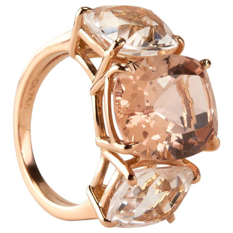 Morganite and Rock Crystal Rose Gold Three Stone Cushion Ring