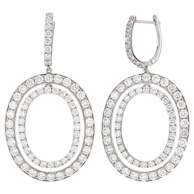 Stunning Oval Diamond Drop Earrings