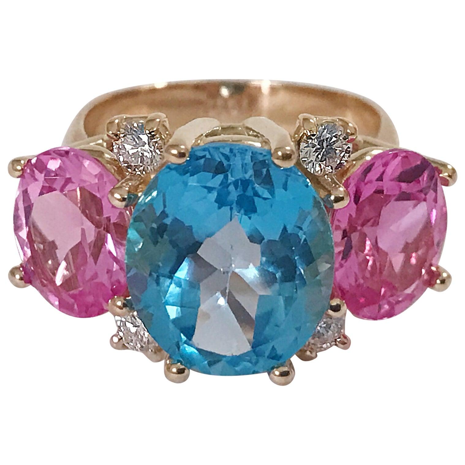 Medium Gum Drop Ring Blue Topaz Pink Topaz