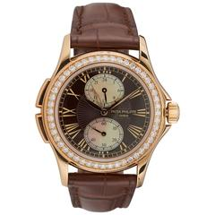 Pre-owned Patek Philippe 18k rose gold Calatrava Travel Time Ladies Watch