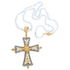 Dallas Prince Designs Blue Topaz and Blue Diamond Cross Necklace