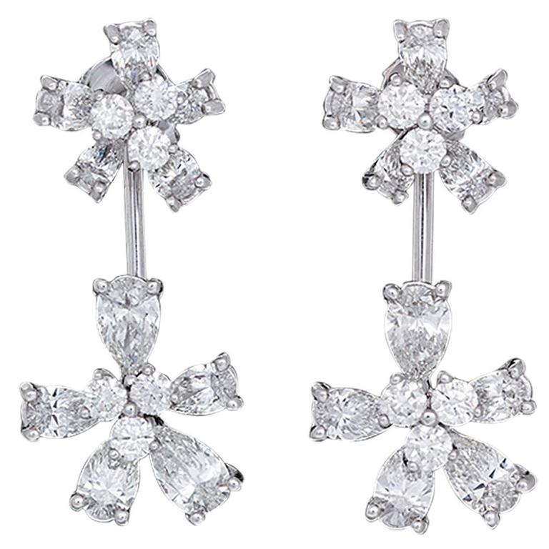 Stunning White Gold and Diamond Flower Stud Earrings with Convertible Earrings 1