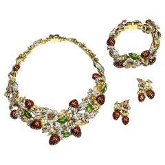 Diamond Sapphire Enamel and Gold Necklace Bracelet Earring Suite